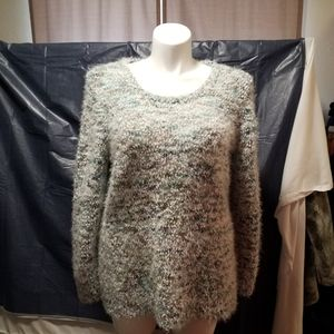 Green Mix acrylic sweater with fringes